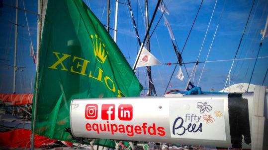 La bôme du bateau FdS sponsorisé par Fifty Bees durant la Rolex Fasnet 2019